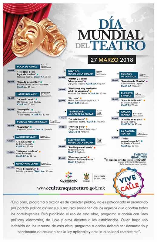 Celebrarán el Día Mundial de Teatro en Querétaro Cartelera